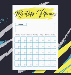 Monthly planner template with abstract vector