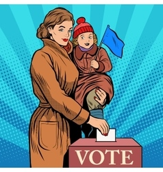 Mother and child women vote in elections vector