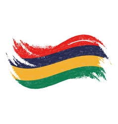National flag of mauritius designed using brush vector