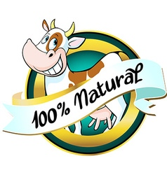 Natural cow or milk label vector