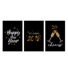 new year party invitation template set new year vector image