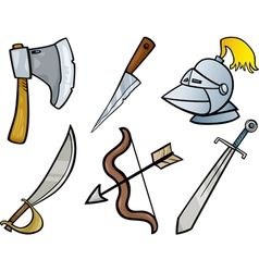 old weapons objects cartoon set vector image