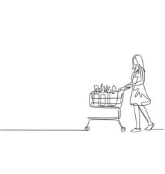 one continuous line drawing young happy female vector image