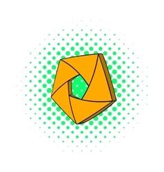 Orange camera aperture icon comics style vector