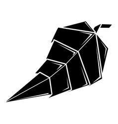 origami leaf icon simple black style vector image