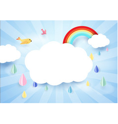 paper art concept rainy and cloud with rainbow vector image