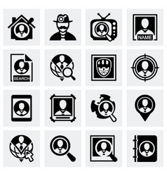People search icon set vector image vector image