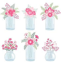 Pink flowers in jars vector