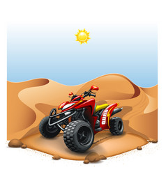Quad bike on deserted hill vector