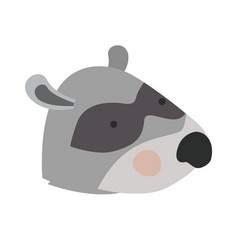 raccoon cartoon head colorful silhouette in white vector image
