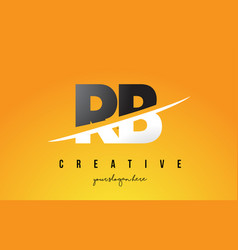 Rb r b letter modern logo design with yellow vector
