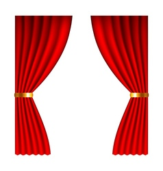 Red window curtains isolated on white vector image