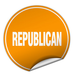 Republican round orange sticker isolated on white vector