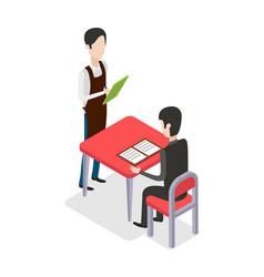 Restaurant male waiter taking customer order vector
