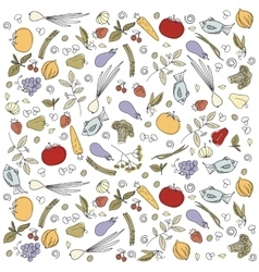 Scattered vegetables background vector