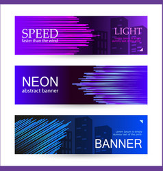 Set horizontal dark banners with glowing vector