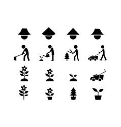 set icon for gardener and famer art vector image
