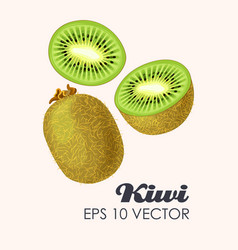 Set of kiwi fruits vector