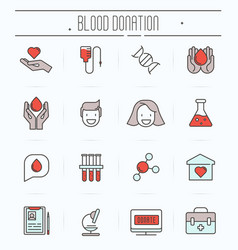 Set of thin line icons of blood donation vector
