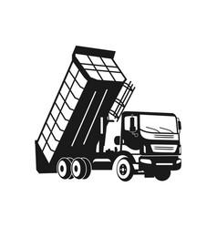 silhouette dump truck design vector image