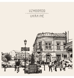 Sketch uzhgorod cityscape ukraine town vector