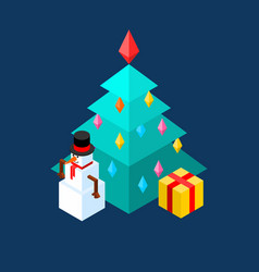snowman and christmas tree isometric style vector image