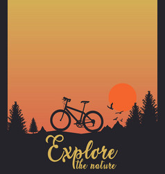 sunset with bicycle birds tree hill amazing nature vector image