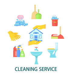 supplies for cleaning premises vector image