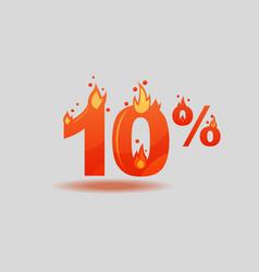 Ten percent discount numbers on fire vector