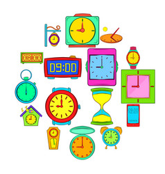 time and clock icons set pop-art style vector image