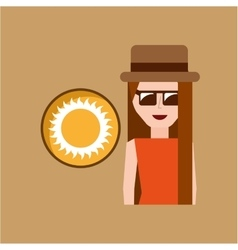 Vacation woman sunny summer vector
