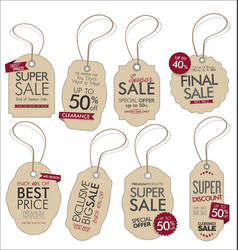 vintage style sale tags design collection 1 vector image