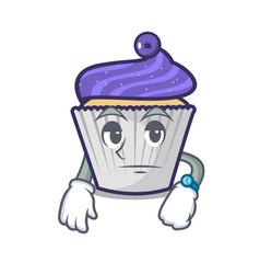 Waiting blueberry cupcake mascot cartoon vector