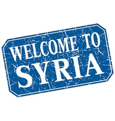 Welcome to Syria blue square grunge stamp vector