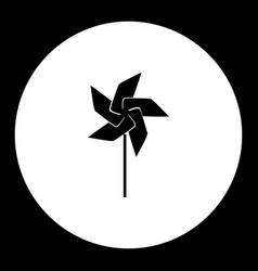 Wind vane little windmill simple black isolated vector