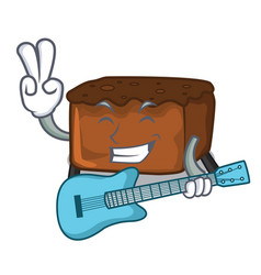 With guitar brownies mascot cartoon style vector