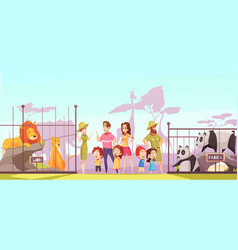 zoo family visit cartoon poster vector image