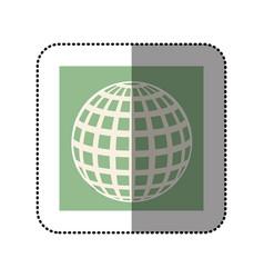 color sticker square with globe earth icon vector image