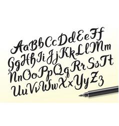 hand drawn brushpen alphabet letters vector image vector image