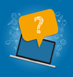 question mark on laptop survey frequently asked vector image