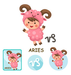 aries collection zodiac signs vector image
