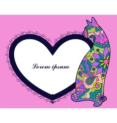 Background with cat and heart shape banner vector image vector image