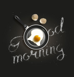 Fried egg in a frying pan vector