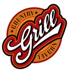grill hand lettering design vector image vector image