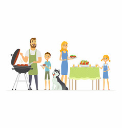 happy family at the barbecue - modern cartoon vector image vector image