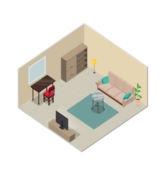 Isometric Interior Design Living Room Furniture vector image vector image