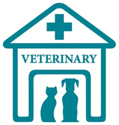 veterinary icon with home and pets vector image vector image