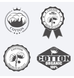 Cotton labels stickers and emblems vector image vector image