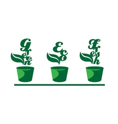 Green words in pots vector image vector image