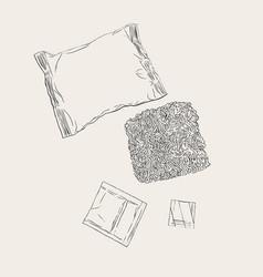instant noodles set sketch vector image